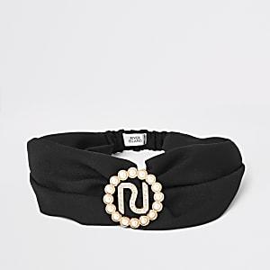 Girls black RI twist headband