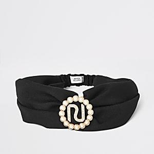 Zwarte gedraaide haarband voor meisjes