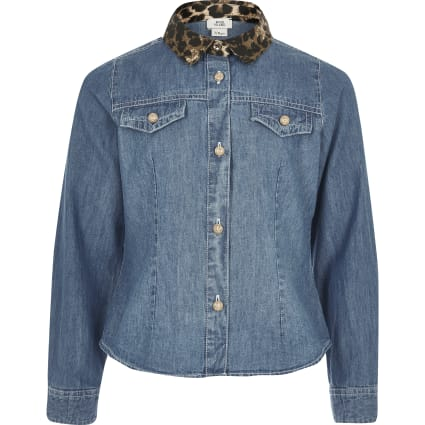 Girls leopard print collar denim shirt