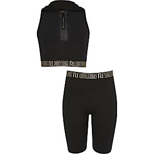 RI Active - Outfit met zwarte crop top met capuchon voor meisjes