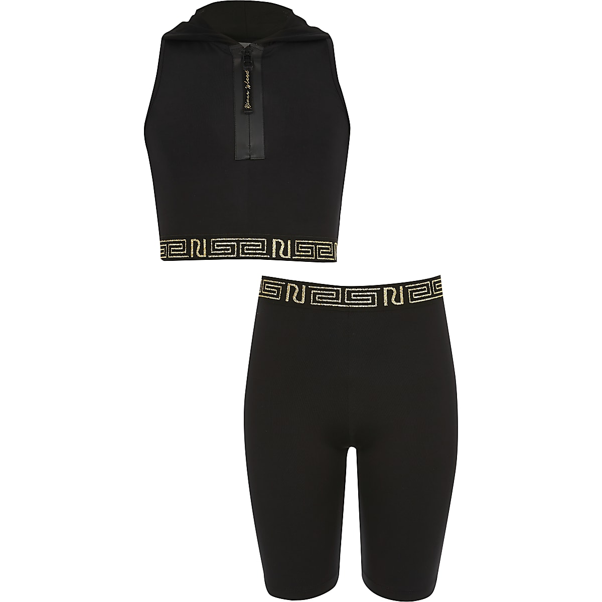 Girls RI Active black hooded crop top outfit