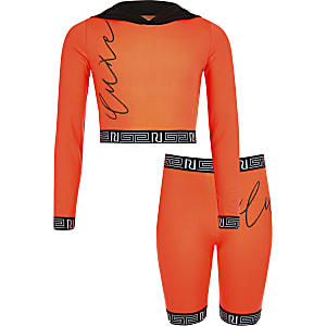 RI Active – Tenue avec sweat orange fluo à capuche pour fille