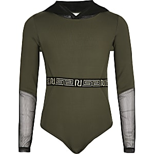 Girls khaki mesh hood bodysuit