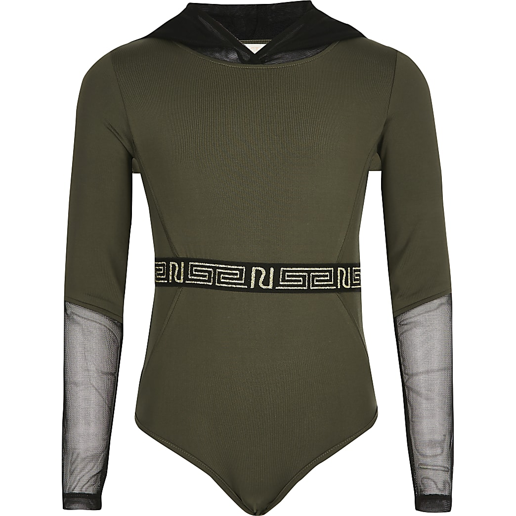 Girls khaki mesh hood bodysuit