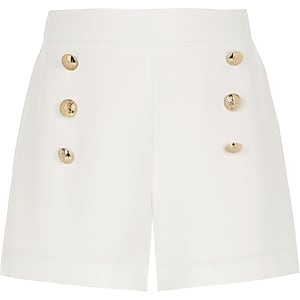 Girls white military shorts