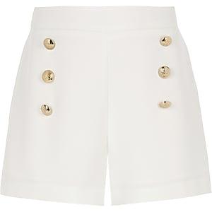 Witte short in legerlook voor meisjes