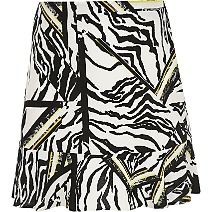 Girls white zebra print frill hem skirt