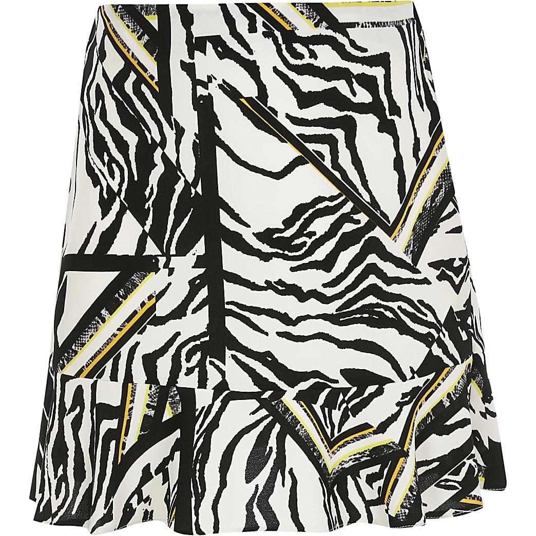 Girls white zebra print frill hem skirt