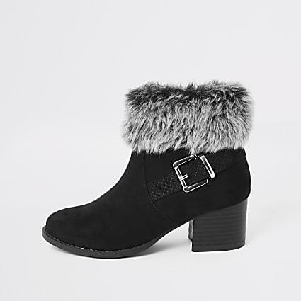Girls black faux hur heel ankle boot