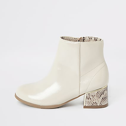 Girls white snake print block heel boots