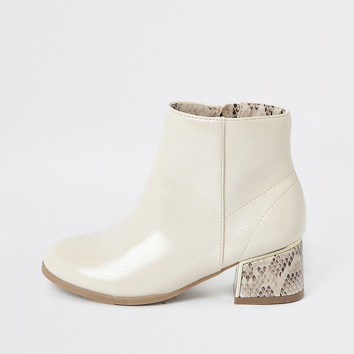 Girls white snake print heeled boots