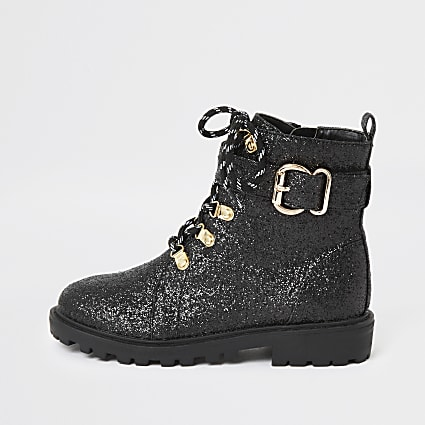 Girls black glitter biker boots