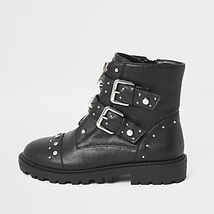 Girls black embellished biker boot