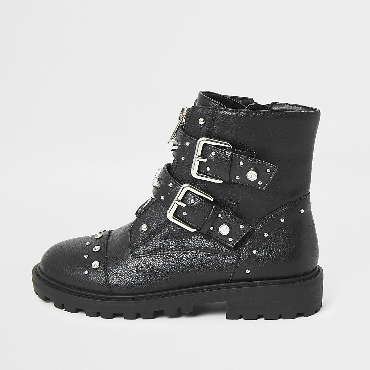Girls black embellished biker boot