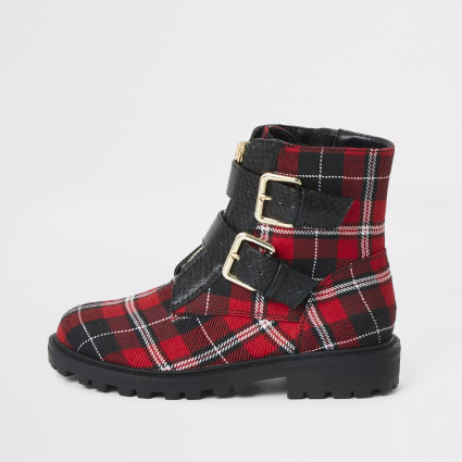 Girls red tartan print buckle biker boots