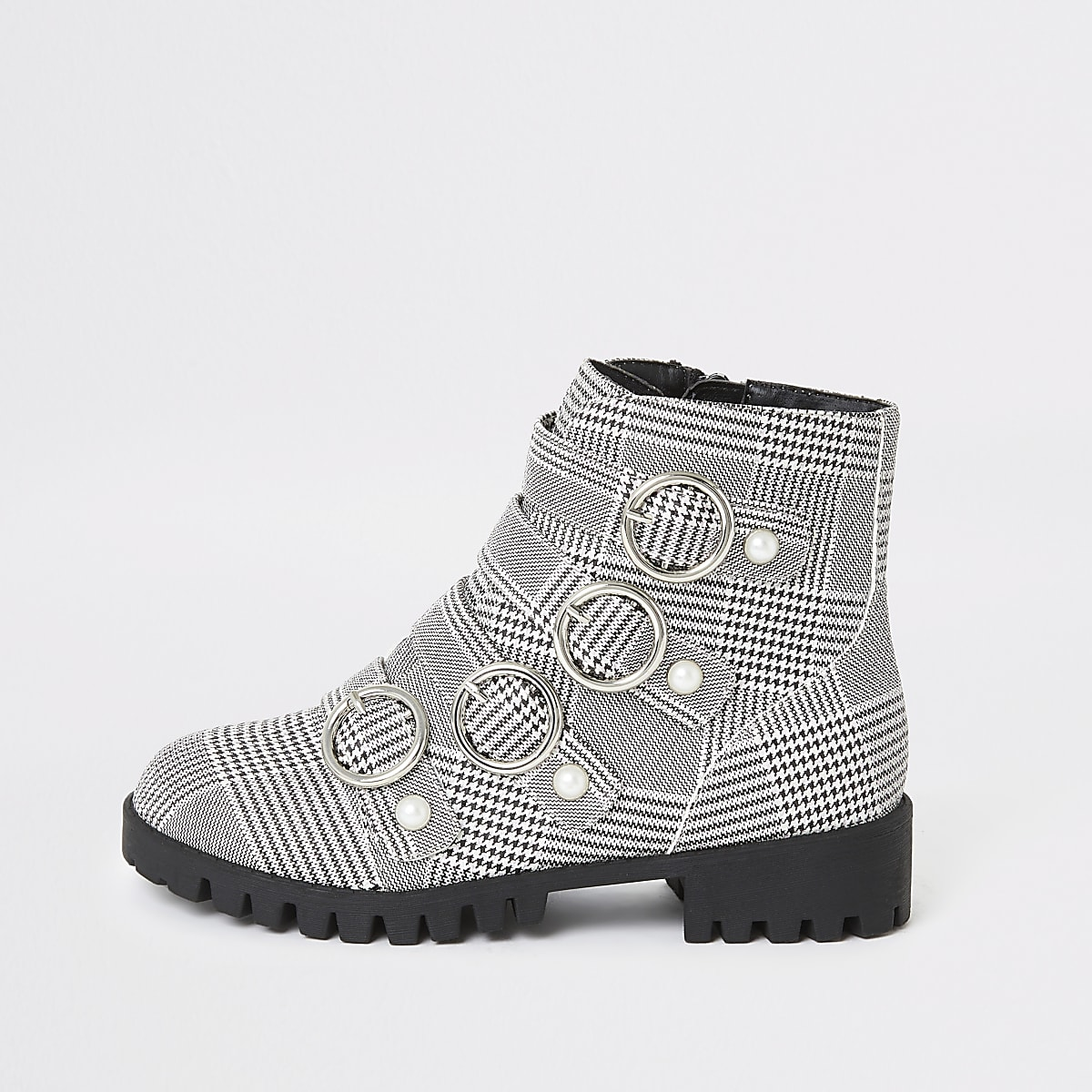 Girls grey check buckle boots