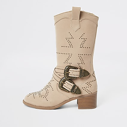 Girls beige studded western boots