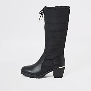 Gefütterte, kniehohe Stiefel mit Absatz in Schwarz für Mädchen