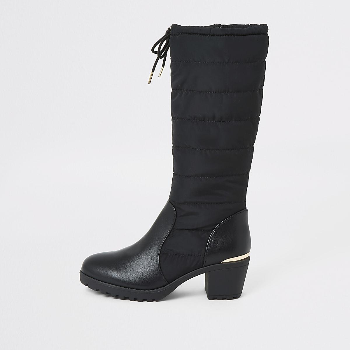 Zwarte gewatteerde kniehoge laarzen met hak voor meisjes