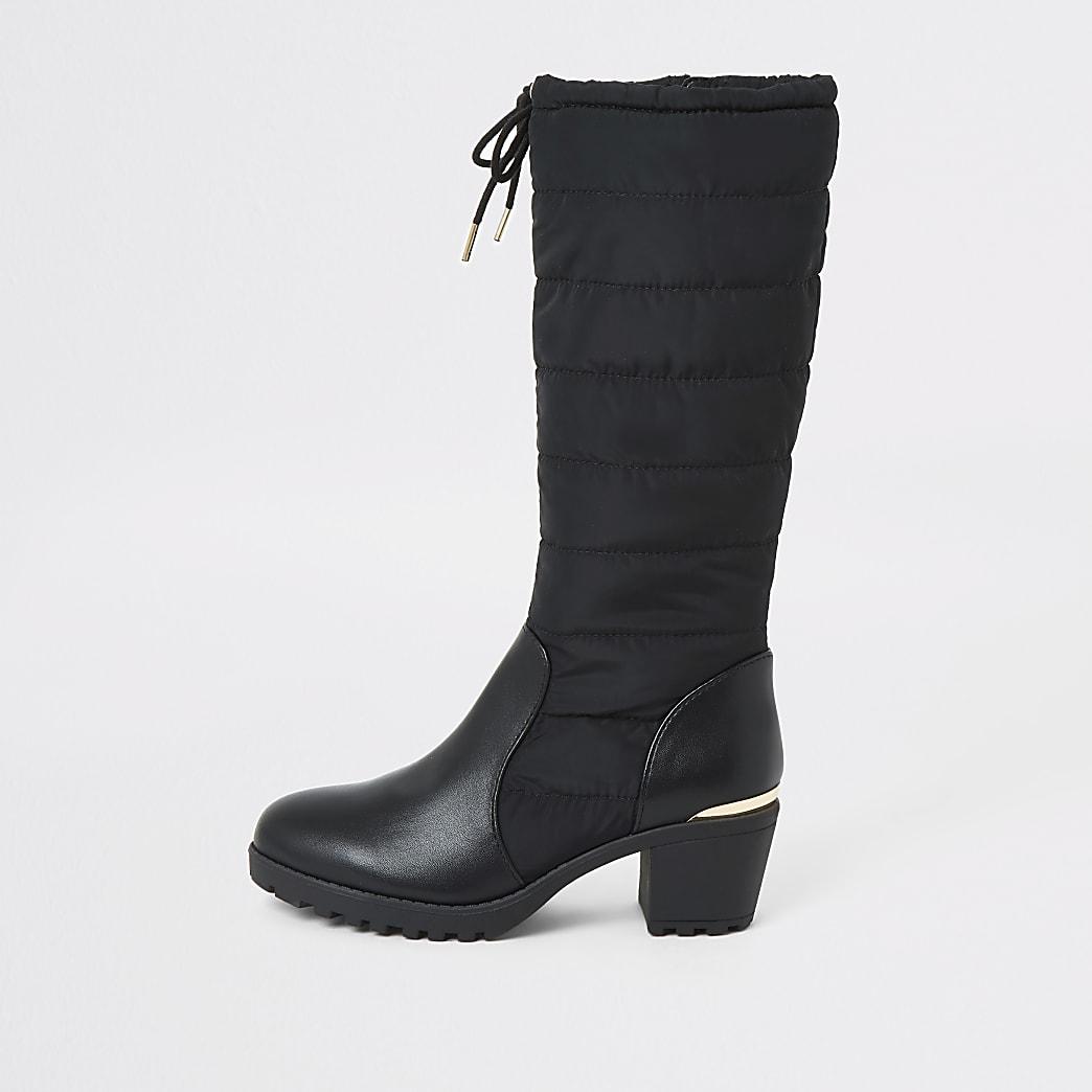 Girls black padded knee high heel boots