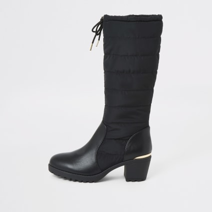 Girls black padded knee high heel boots