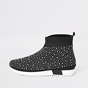 Baskets-chaussettes noires ornées de sequins pour fille