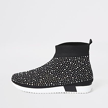 Girls black sequin embellished sock trainers