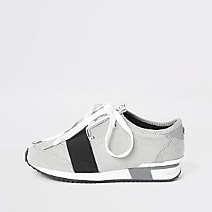 Elastische Sneaker in Grau mit Schnürung für Mädchen