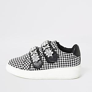 Zwarte sneakers met geruit pied-de-poule-motief en siersteentjes voor meisjes
