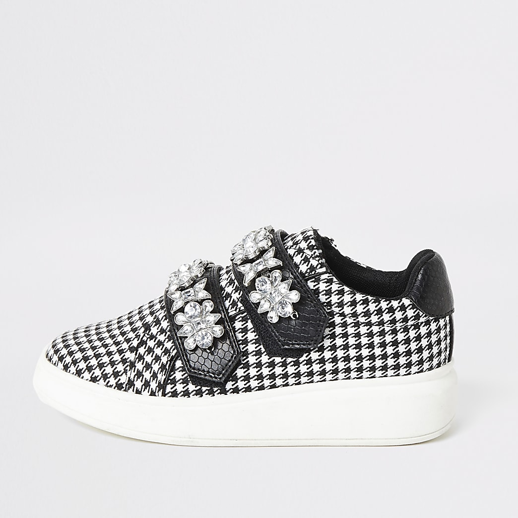 Girls black dogtooth check jewelled trainers