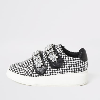 Girls back dogtooth check jewelled trainers