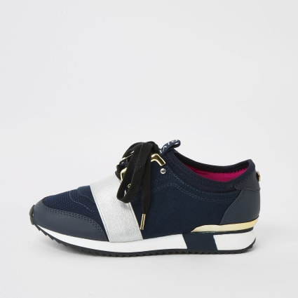 Girls navy elasticated runner trainers
