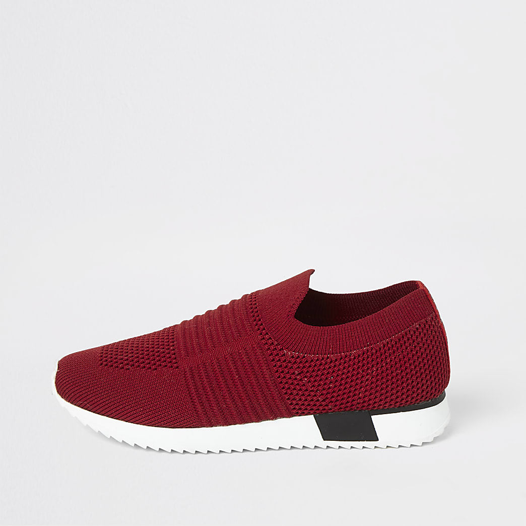 Girls red knitted runner trainers