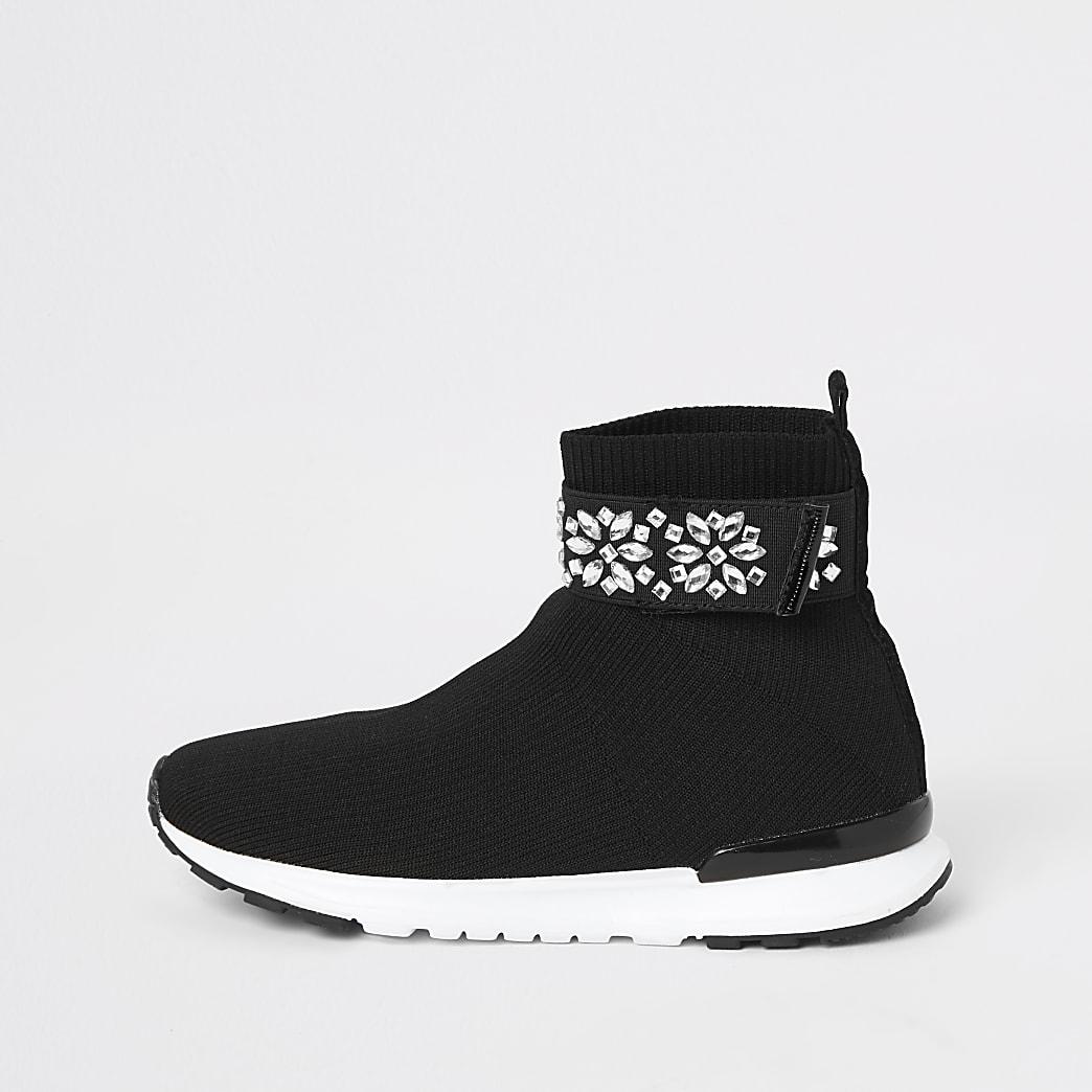 Girls black embellished strap sock trainers