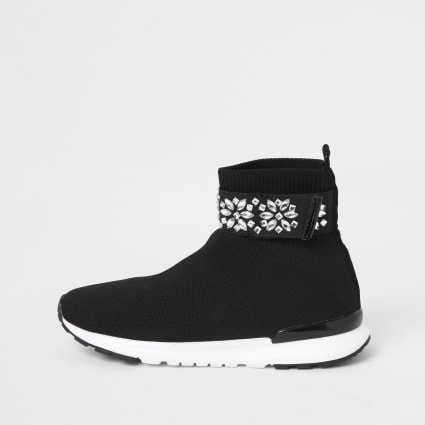 Girls black embellished strap sock trainers