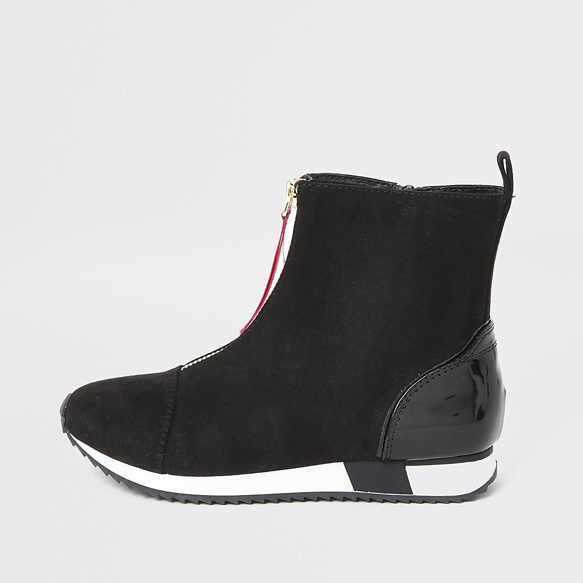 Zwarte hoge sneaker met rits voor en 'RVR'-print voor meisjes