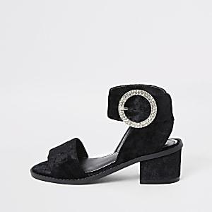 Sandales en velours noir à talons pour fille
