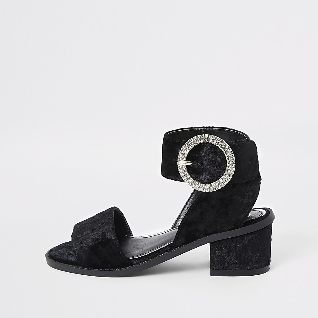 Girls black velvet heeled sandals