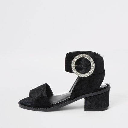 Girls black velvet heeled sandals