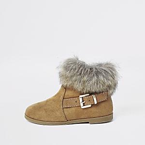Mini – Hellbraune Stiefel mit Kunstfellbesatz und Schnalle
