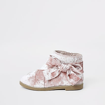 Mini girls pink bow ankle boots