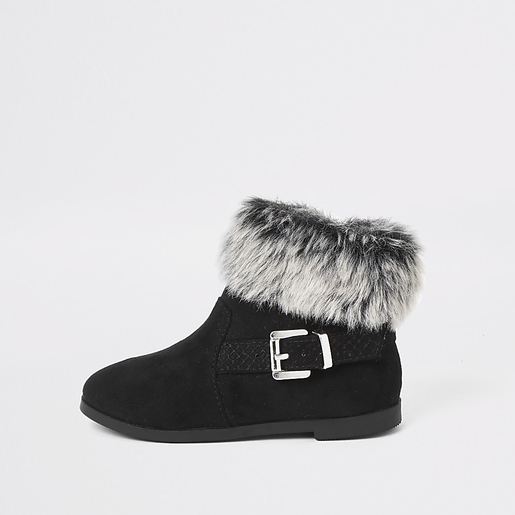 Mini girls black faux fur trim buckle boots