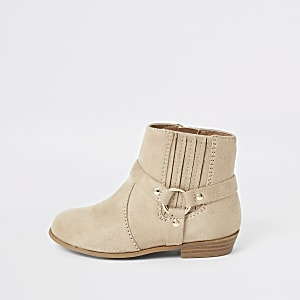 Bottines beiges style western Mini fille