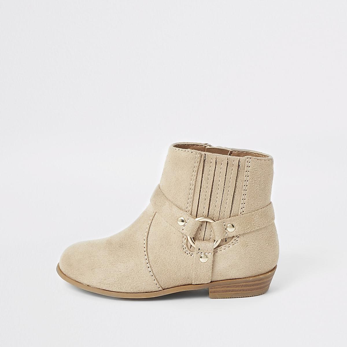 Mini girls beige western ankle boots