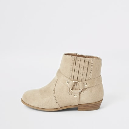 Mini girls beige western ankle boots