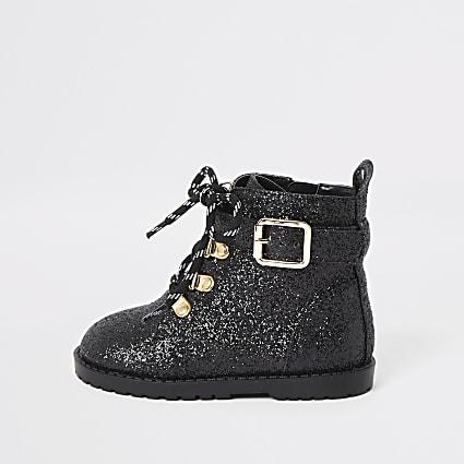 Mini girls black glitter biker boots