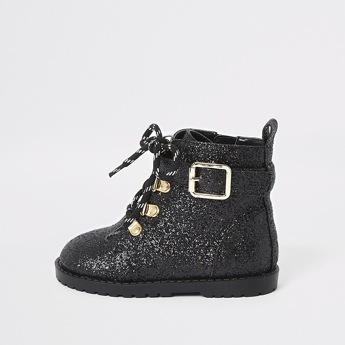 Mini girls black glitter biker boots