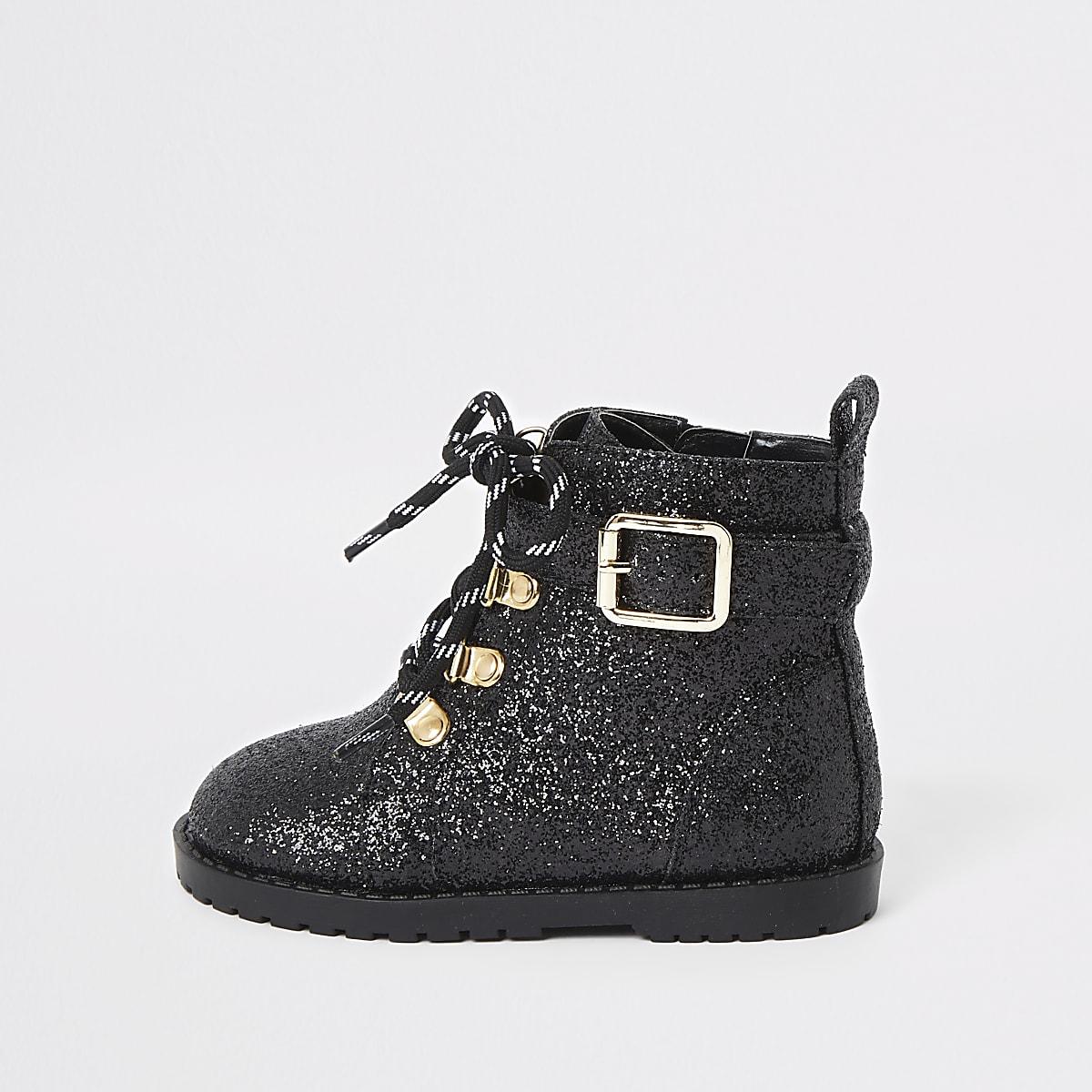 Mini - Zwarte bikerlaarzen met glitter voor meisjes