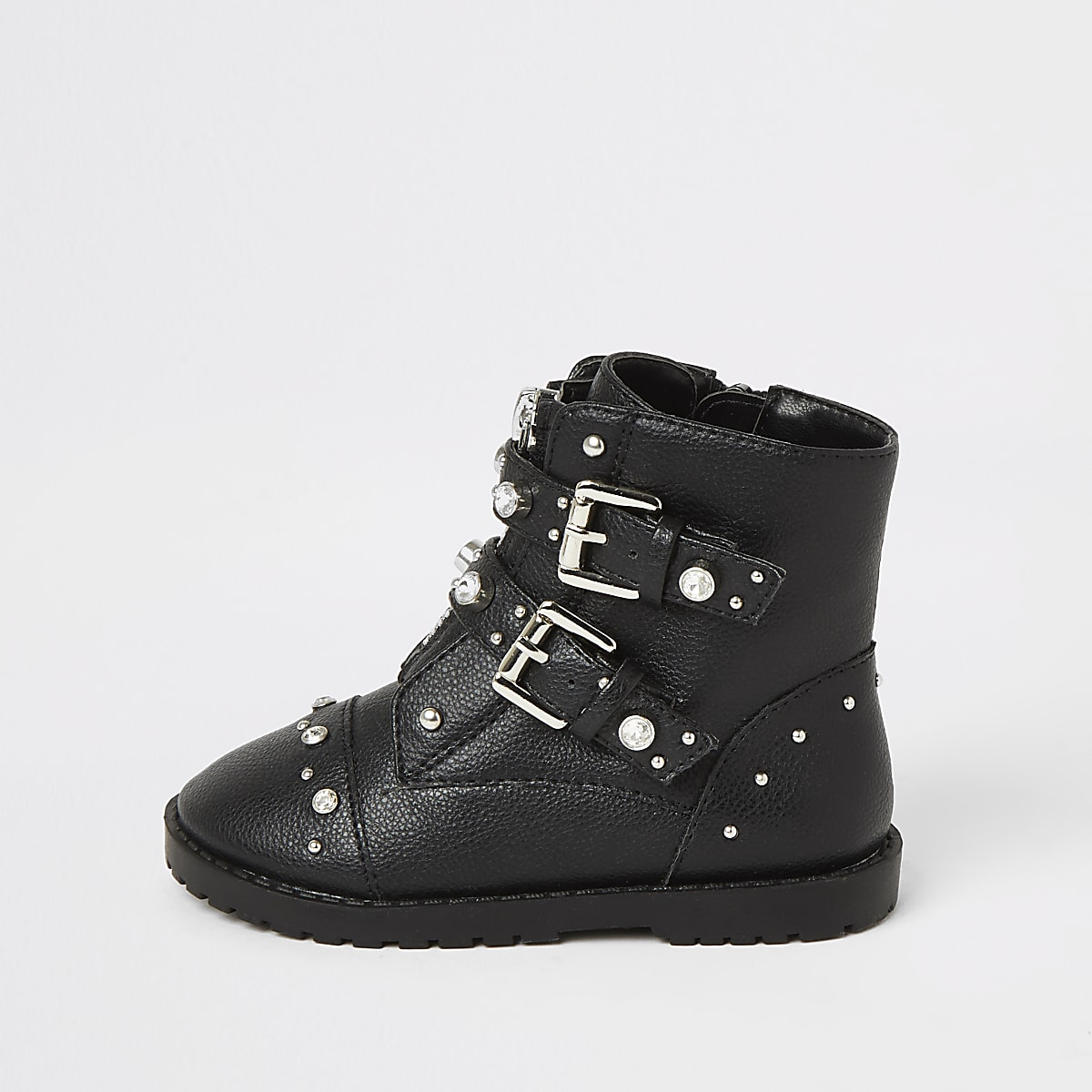 Mini girls black embellished biker boots