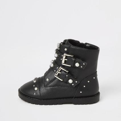 Mini girls black embellished biker boots